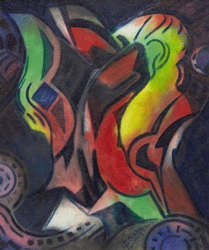 Amand BOUVIER (1913-1997)  Composition  Huile...
