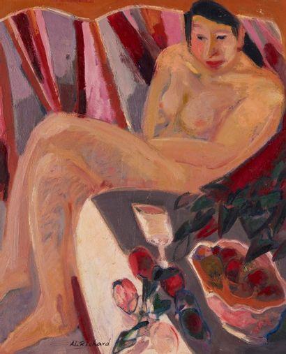 Alain RICHARD (Né en 1933)  Nu feminin assis...
