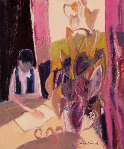 Alain RICHARD (Né en 1933)  Femme à la lecture...
