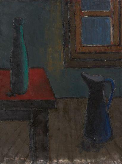Amand BOUVIER (1913-1997)  Composition au vase et à la cruche  Huile sur toile  65,5...