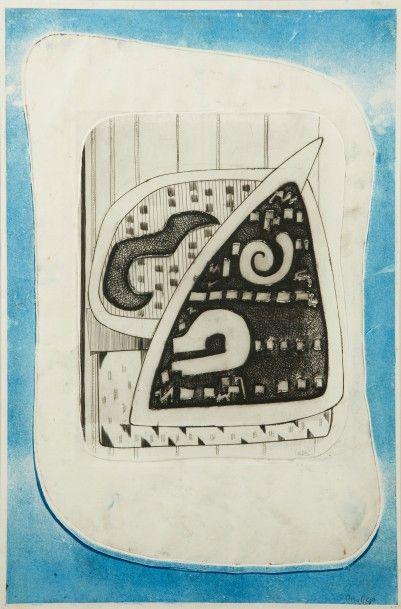 Nina NEGRI (Argentine 1901- Paris 1981)  Hermétique  Eau-forte en couleurs  Œuvre...