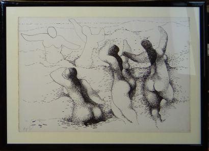 Manolo RUIZ - PIPO (Grenade 1929 - Agen 1998)  Les baigneuses  Encre sur papier...