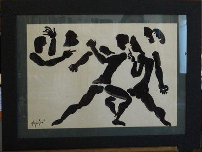 Manolo RUIZ - PIPO (Grenade 1929 - Agen 1998)  La lutte  Encre sur papier  50 x...
