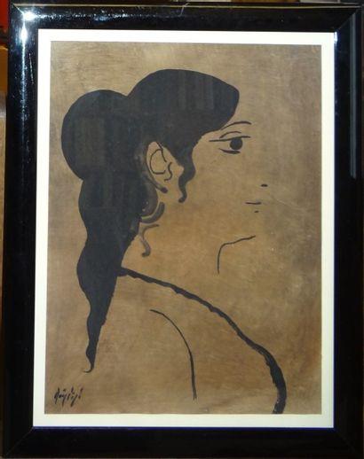 Manolo RUIZ - PIPO (Grenade 1929 - Agen 1998)  Portrait de femme  Gouache sur papier...
