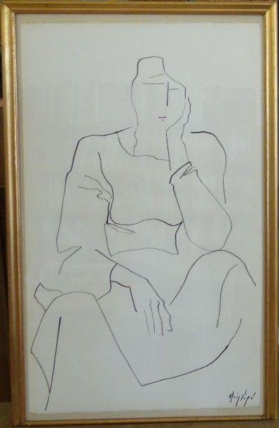 Manolo RUIZ - PIPO (Grenade 1929 - Agen 1998)  Femme assise  Encre sur papier  56,5...
