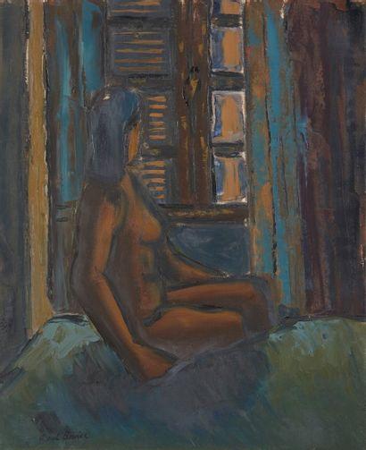 Amand BOUvier (1913-1997)  Nu à la fenêtre, 1956  Huile sur toile  73 x 60 cm  Signé...