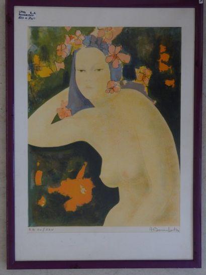 Alain BONNEFOIT (Paris 1937)  Portrait de femme aux fleurs  Lithographie en couleurs...