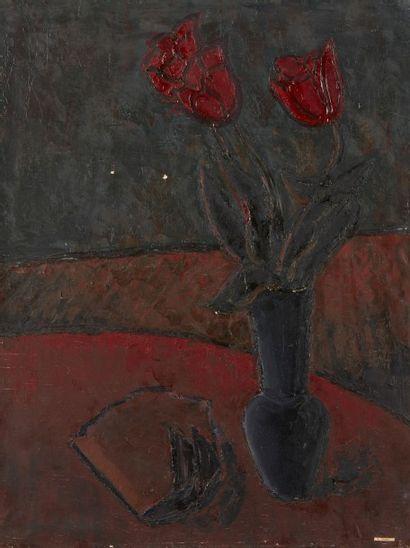 Amand BOUVIER (1913-1997)  Fleurs  Huile...