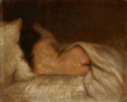 Albert COSTE (Marseille 1895 - 1985)  Nu de dos endormi  Huile sur toile  33 x 41...