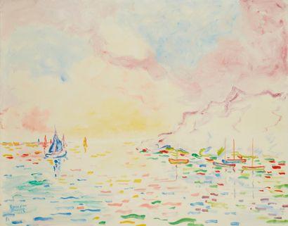 Amand BOUVIER (1913-1997)  Coucher de soleil...