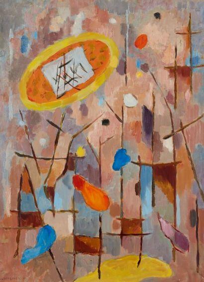 Albert COSTE (Marseille 1895 - 1985)  Composition  Huile sur papier marouflé sur...