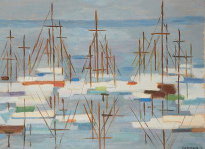 Albert COSTE (Marseille 1895 - 1985)  Composition aux bateaux  Huile sur papier...