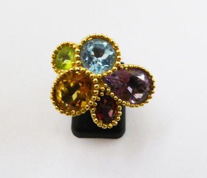CRISO Bague monture or jaune 750 millièmes, sertie perlées de 5 pierres (topaze,...