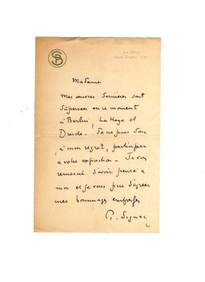SIGNAC (Paul, 1863-1935). L.A.S., La Hune, Saint Tropez, sd, 1 p. in-8, sur papier...