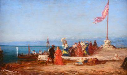 Félix ZIEM (Beaune 1821 - Paris 1911)  Promenade...