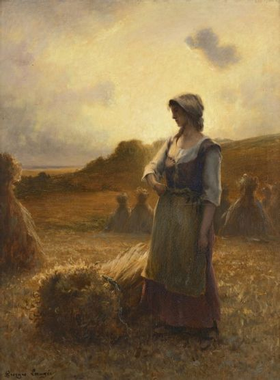 Georges LAUGEE (Montiviliers 1853 - Boullarne 1937)  Glaneuse au crépuscule  Huile...