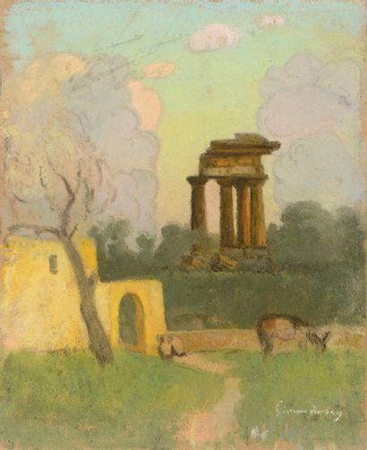 Simon BUSSY (Dôle 1870 - Londres 1954)  Paysage aux ruines  Pastel  20 x 16 cm  Signé...