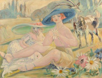 Jacqueline MARVAL (Quaix en Chartreuse 1866 - Paris 1932)  Femmes aux chapeaux dans...