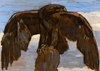 Paul JOUVE (Bourron Marlotte 1878 - Paris 1973)  Aigle aux ailes déployées  Huile...