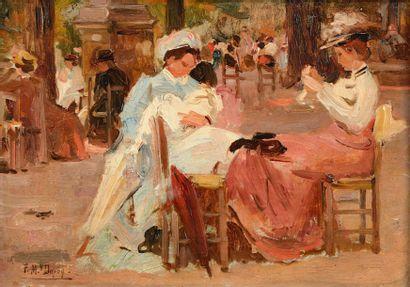 Paul Michel DUPUY (1869 - 1949)  Une après midi au jardin du Luxembourg  Huile sur...