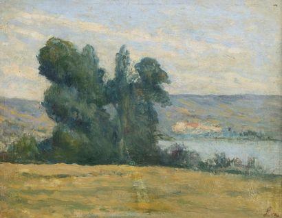 Maximilien LUCE (Paris 1858 - Rolleboise 1941)  Paysage  Huile sur toile d'origine...