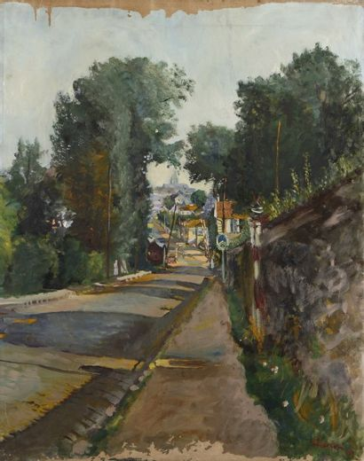 Lucien ADRION (1889-1953)  Rue de village,...