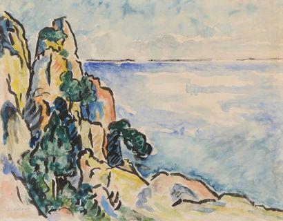 Louis VALTAT (Dieppe 1869 - Paris 1952)  Bord de mer  Aquarelle et encre noire  36...