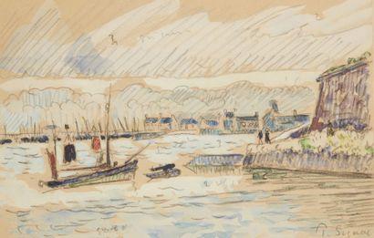 Paul SIGNAC (Paris 1863 - 1935)  Port breton,...