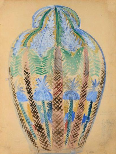 Raoul DUFY (1877-1953)  Vase aux palmiers,...