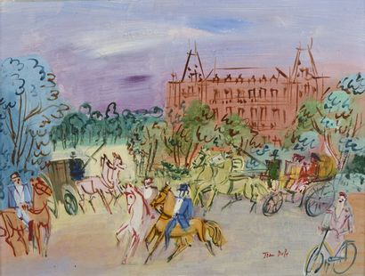 Jean DUFY (Havre 1888- Boussay 1964)  Calèches...