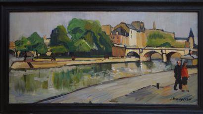 Jacques BOUYSSOU (La Rivière Saint Sauveur 1926 - 1997)  Les berges  Huile sur toile...
