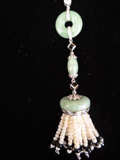 Pendentif jade, onyx, perles et diamants...