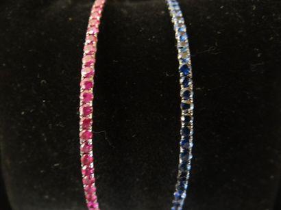 Duo de bracelets rubis et saphirs  Le premier...