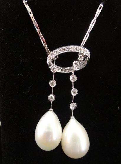 Collier négligé perles et diamants  Serti...
