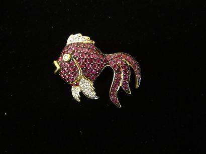 Broche pendentif rubis et diamants  Stylisant...