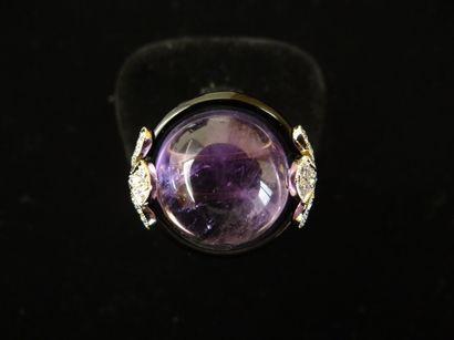 Bague améthyste, onyx et diamants  Sertie...