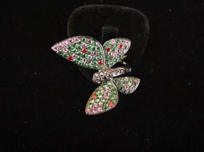 Bague tsavorites, saphirs et diamants  Stylisant...