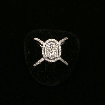 Bague diamants  De forme ovale, sertie de...