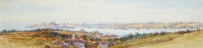 Gabriel CARELLI (1821-1900) Ecole italienne  Deux vues de Constantinople  Deux aquarelles...