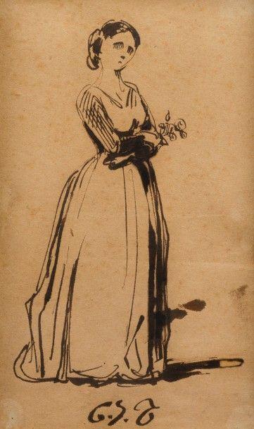 Charles Joseph TRAVIES de Villiers (Winterthur 1804 – Paris 1859)  Jeune femme en...