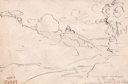 Jean-Baptiste Camille COROT  (Paris 1796 – 1875)  Paysage  Au revers promeneur dans...
