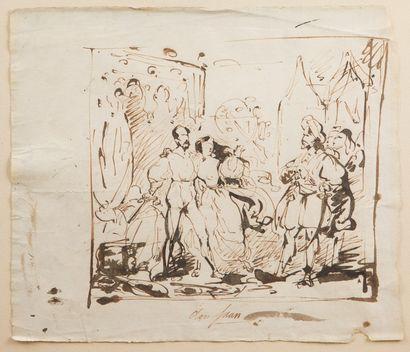 Attribué à Louis BOULANGER (Verceil 1806 - Dijon 1867)  Scène de théâtre avec Don...
