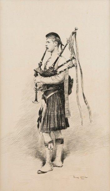 Edouard DETAILLE (Paris 1848 – 1912)  Garde écossais jouant de la cornemuse, 1880...
