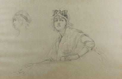 Georges CLAIRIN (Paris 1843 - Belle-Ile-en Mer 1919)  La jeune femme tenant une...