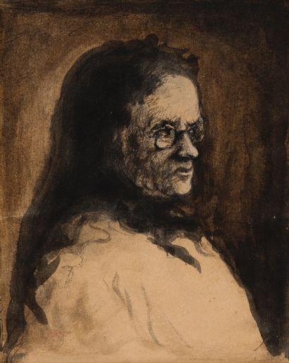 Théodule Augustin RIBOT (Saint Nicolas d'Attez 1823-Colombes 1891)  La Grand-Mère...