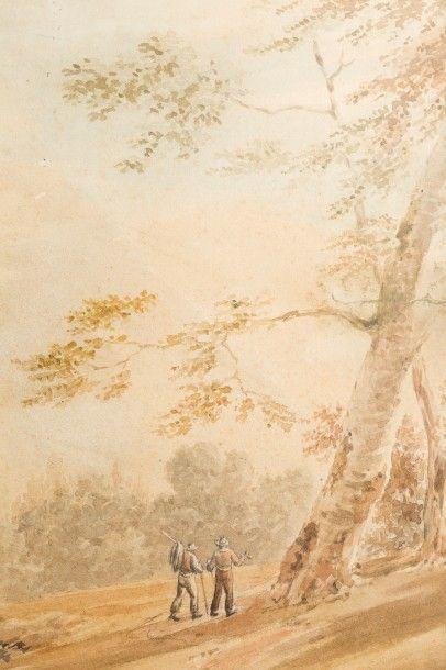 Ecole anglaise du XIXème siècle  Paysage d'Italie  Aquarelle et crayon noir  53...