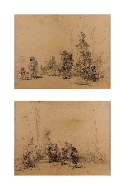 Ecole française du XIXème siècle  Deux scènes portuaires  Crayon noir et estompe...