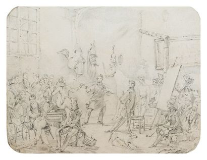 Ecole française du XIXème siècle  L'atelier d'Horace Vernet d'après Horace Vernet...