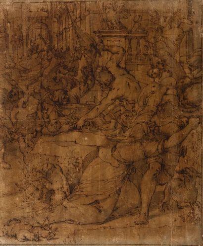 Ecole gênoise du XVIème siècle  Le massacre...