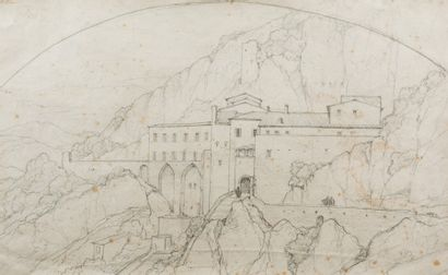 Edouard BERTIN (Paris 1797 - 1871)  Vue du couvent de Subiaco  Crayon noir  22,3...